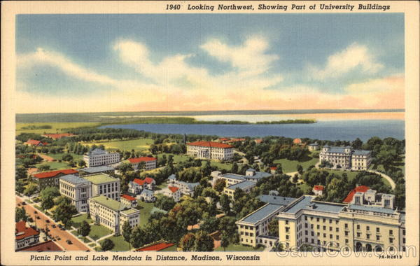 Aerial View looking Northwest showing part of University Buildings Madison Wisconsin