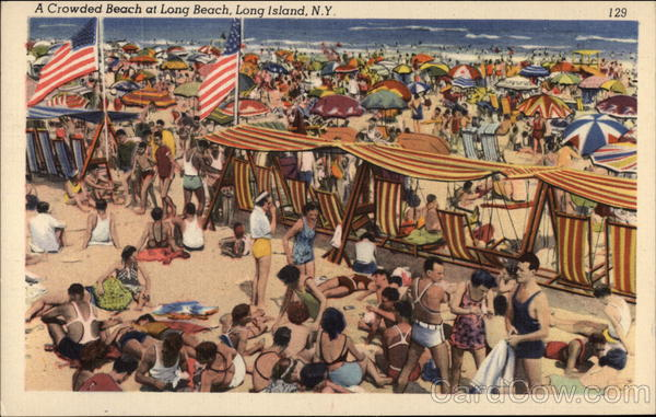 A Crowded Beach at Long Beach Long Island New York