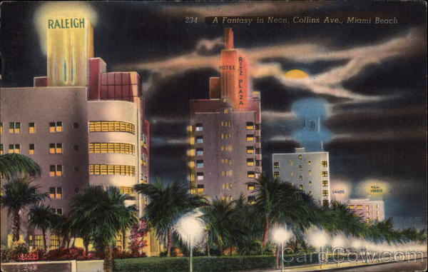 A fantasy in Neon, Collins Ave Miami Beach Florida