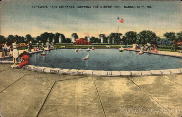 Swope park entrance showing the mirror pool kansas city mo for Public swimming pools kansas city