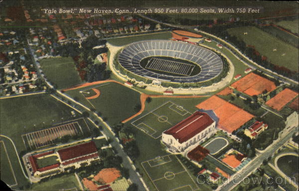 Yale Bowl, Length 950 Feet, 80,000 Seats, Width 750 Feet New Haven Connecticut