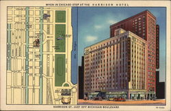 Harrison Hotel, Harrison St., Just off Michigan Boulevard Postcard