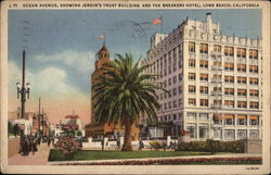 Ocean Avenue showing Jergin's Trust Building and The Breakers Hotel Postcard