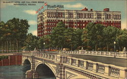 Marott Hotel and Fall Creek Bridge Postcard