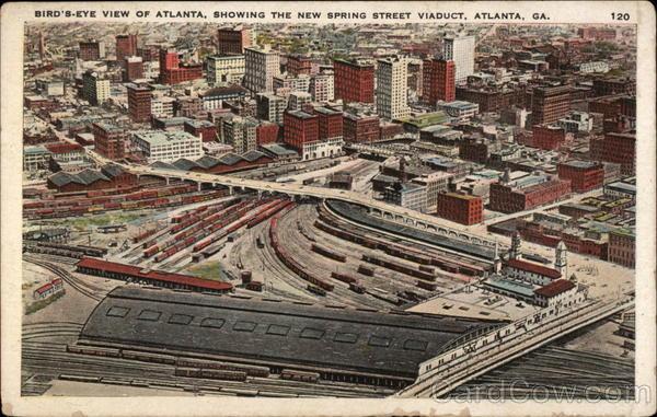 Bird S Eve View Showing New Spring Street Viaduct Atlanta Ga