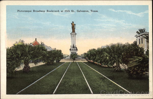 Picturesque Broadway Boulevard, at 25th Street Galveston Texas