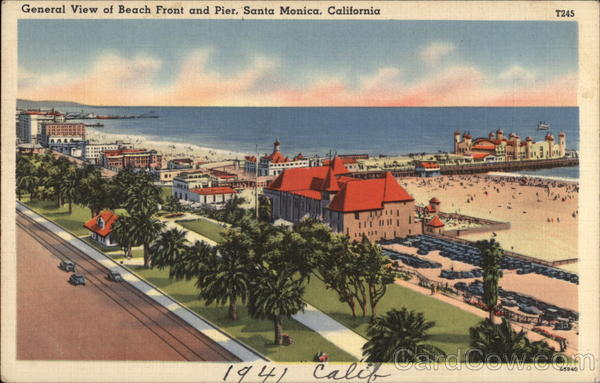 General View of Beach Front and Pier Santa Monica California