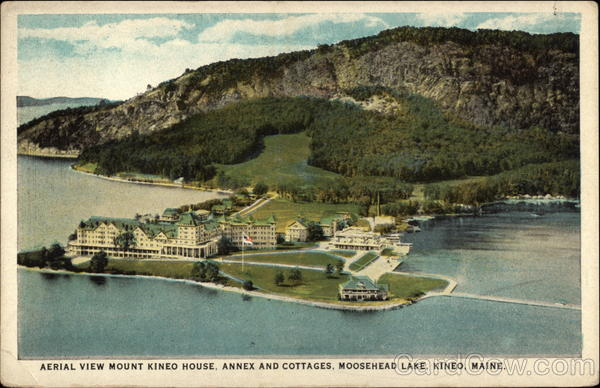 Aerial View of Mount Kineo House, Annex and Cottages, Moosehead Lake Maine