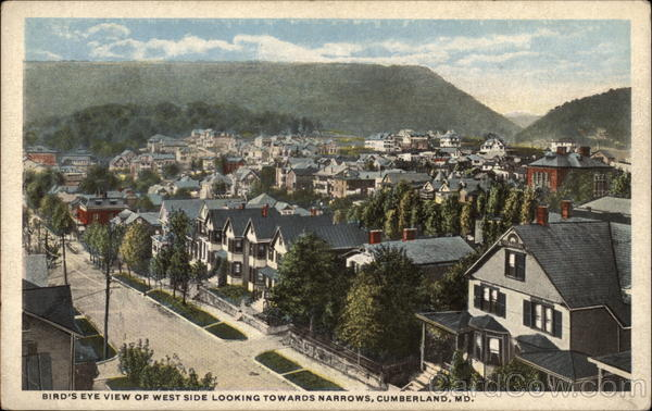 Bird's Eye View of West Side Looking Towards Narrows Cumberland Maryland
