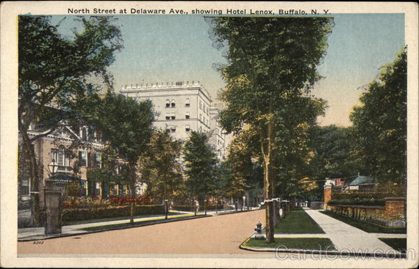 North Street at Delaware Ave., showing Hotel Lenox Buffalo New York