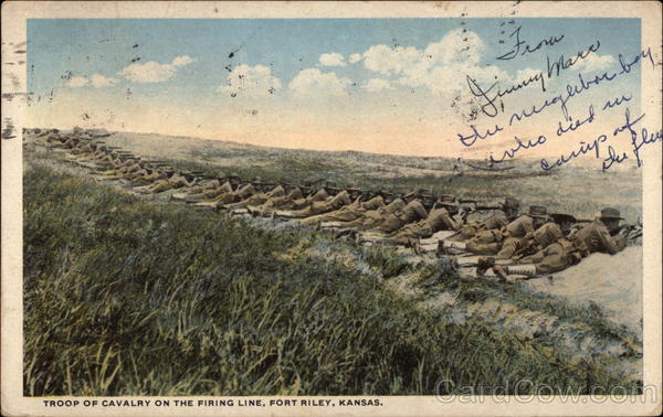 Troop of Cavalry on the Firing Line Fort Riley Kansas