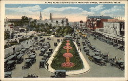 Alamo Plaza looking south from Post Office Postcard