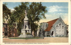 Soldiers Monument and Plymouth Congregational Church