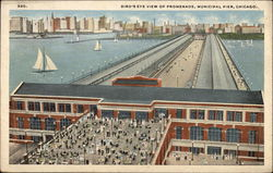 Bird's Eye View of Promenade, Municipal Pier Postcard