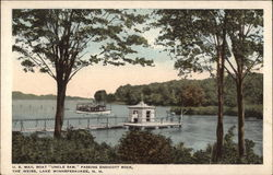 "U.S. Mail Boat ""Uncle Sam"" passing Endicott Rock, on Lake Winnepesaukee Postcard"