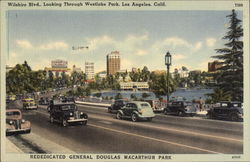 Wilshire Blvd., Looking through Westlake Park Postcard