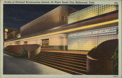 Studio of National Broadcasting System, at Night, Radio City Postcard
