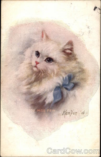 Fluffy White Cat with Blue Bow Henry Kenyon Cats