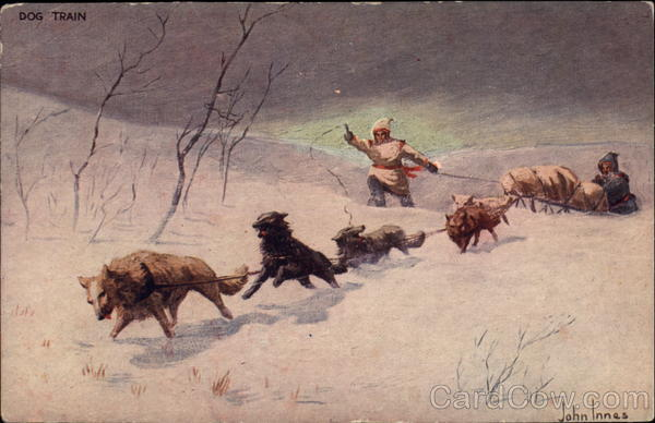 Eskimos with Dog Team Sled John Innes Native Americana