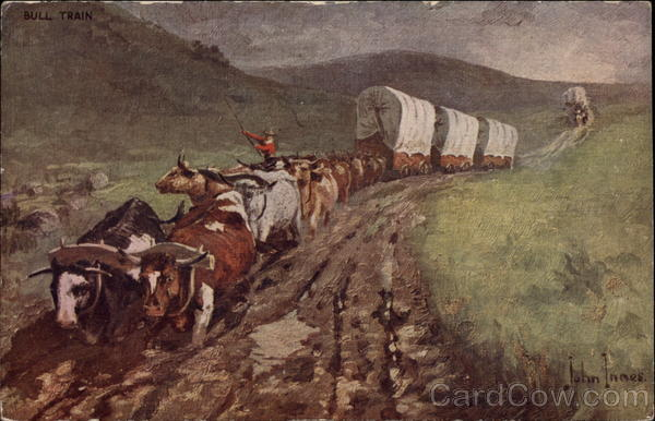 Wagon Train Pulled by Oxen John Innes Cowboy Western