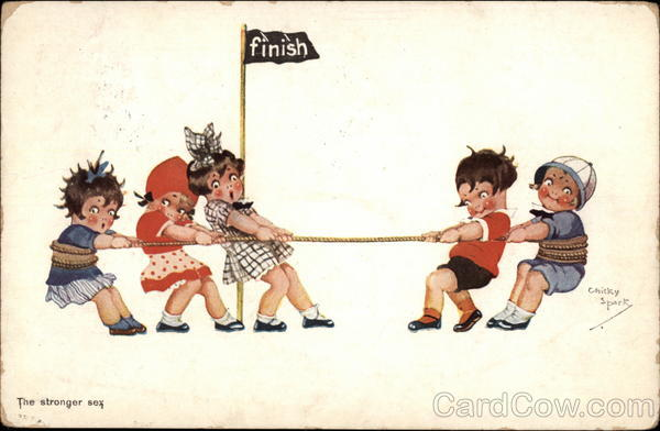 Boys and Girls in Tug of War Chicky Spark Comic, Funny