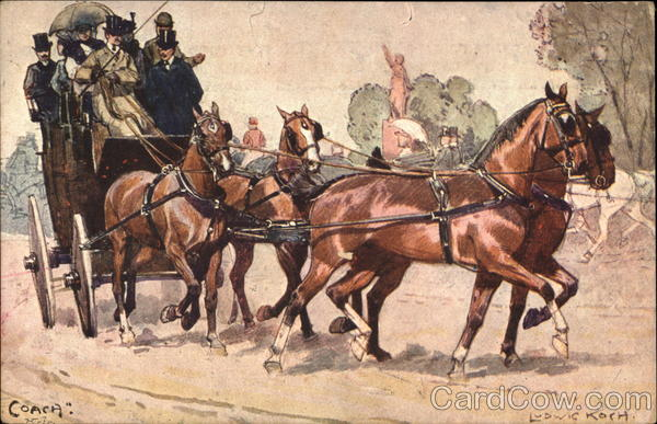 Coach Pulled by 4 Brown Horses Ludwig Koch Horse-Drawn