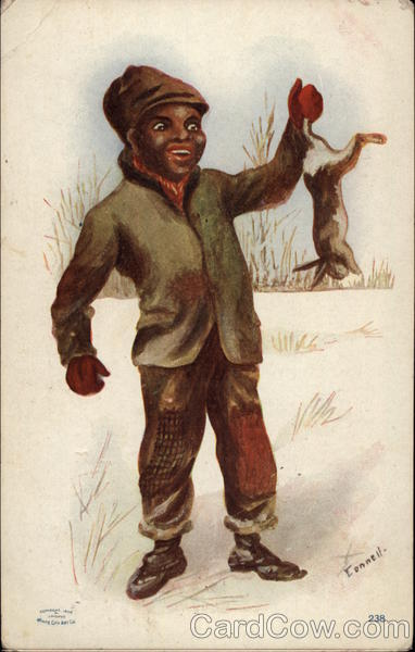 Young Boy with Rabbit Black Americana