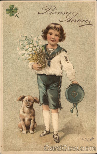 Boy in Sailor Suit with Flowers and Dog Children