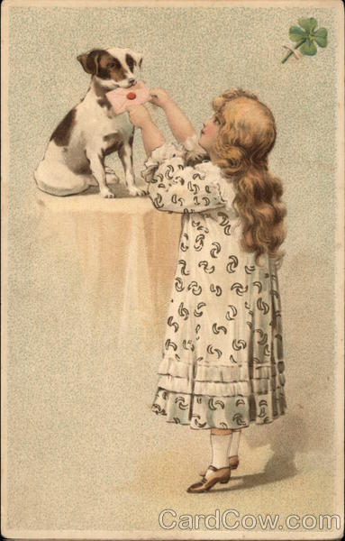 Blonde Girl Giving Letter to Puppy Girls