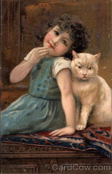 Young GIrl with White Cat Girls