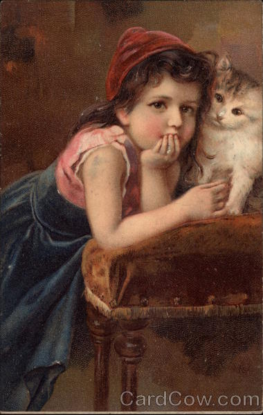Girl with Fluffy Cat on a Chair Children