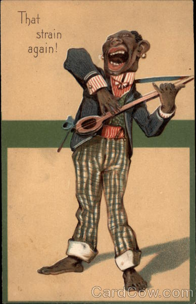 African American Caricature with Banjo Black Americana