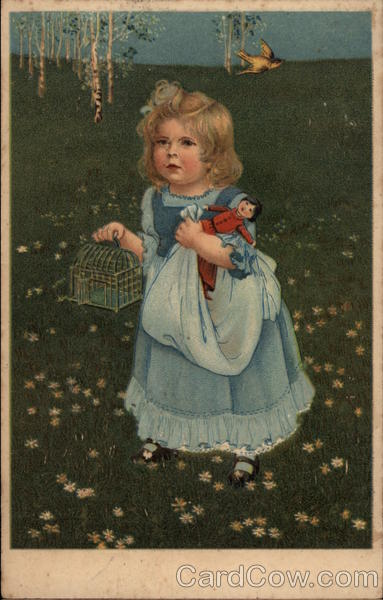 Girl in Field with Doll and Birdcage Girls
