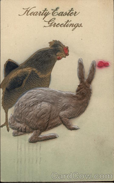 Embossed Hen and Rabbit with Pink Eggs With Bunnies