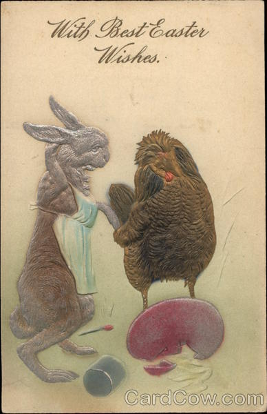 Rabbit and Hen with Broken Egg With Bunnies Airbrushed