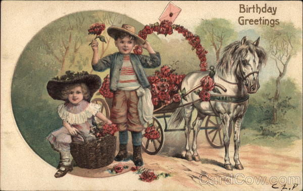 Birthday Greetings - Children with Horse and Flower Cart