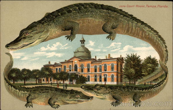 Alligators and the Court House in Tampa, Florida
