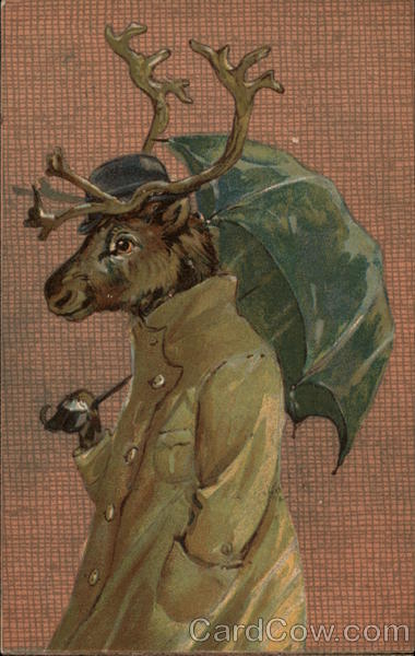 Reindeer in Raincoat with Bowler Hat and Umbrella Ernest Nister