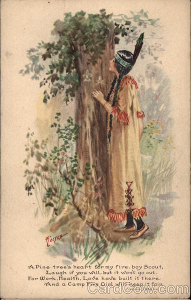 Indian Girl at Base of Tree Relyea Native Americana