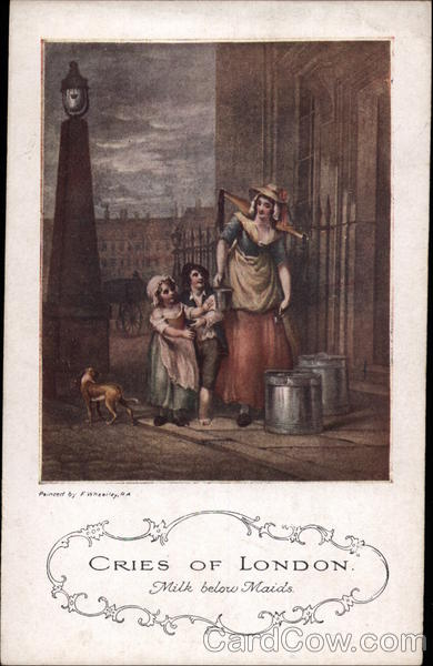 Milkmaid with two Children and Dog Art