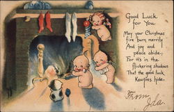 Kewpie Children In Front of Fire Postcard