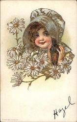 Girl in bonnet with white flowers Postcard