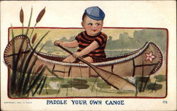 Young Boy in Small Canoe