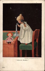 Young Girl in Nightie Talking on Telephone Postcard