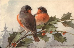 Two Robins on Sprig of Holly