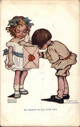 Boy Gives Girl an Envelope Sealed with a Heart