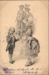 Young Boy Giving Flowers to Maid