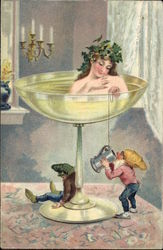 Woman In Champagne Glass With Elves