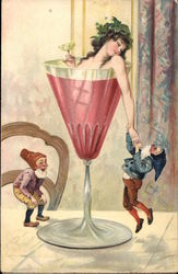 Lady in a Wine Glass with Elves