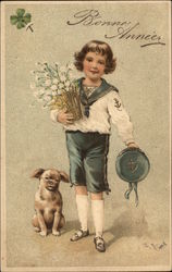 Boy in Sailor Suit with Flowers and Dog